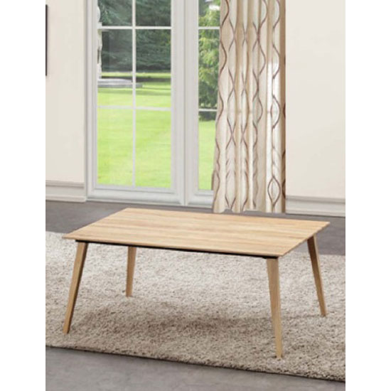 Sienna Coffee Table Rectangular In Oak With Steel Frame