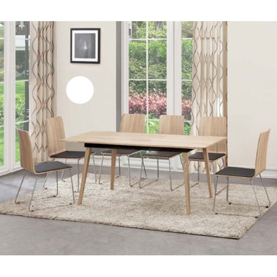 Sienna Extendable Dining Table In Oak With Steel Frame