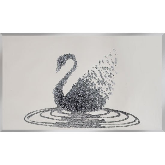 Peyton Glass Wall Art Large In Silver Glitter Swan On Mirror