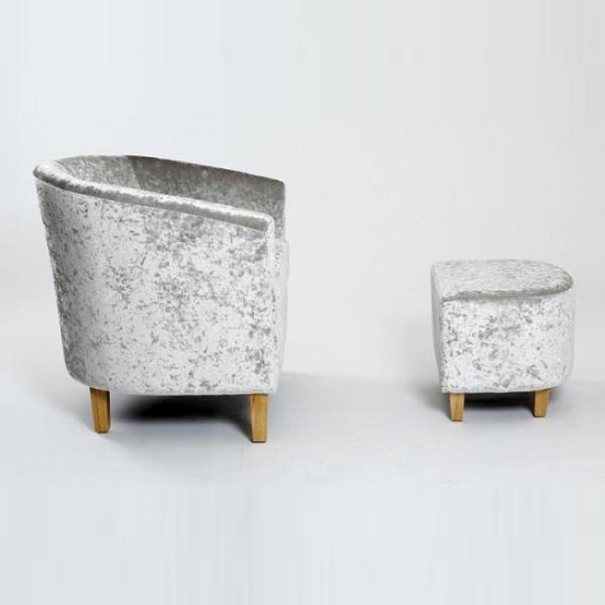 Brisk Tub Chair With Stool In Crushed Velvet Silver 27352