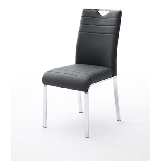 Slash Dining Chair In Black Faux Leather With Chrome Foot Frame