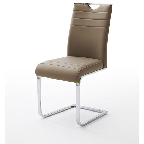 Slash Dining Chair In Cappuccino PU With Chrome Cantilever Frame