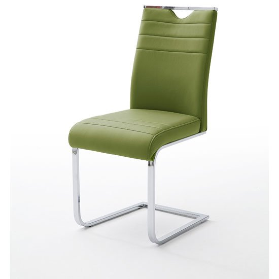 Slash Dining Chair In Olive PU With Chrome Cantilever Frame