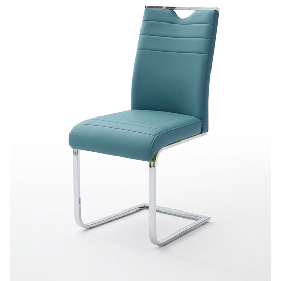 Slash Dining Chair In Petrol PU With Chrome Cantilever Frame