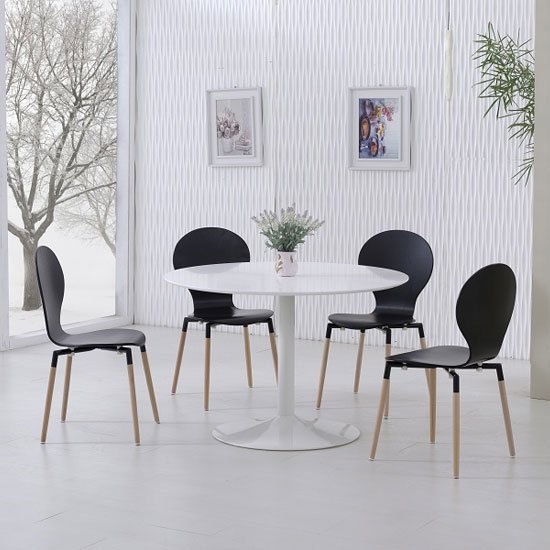 View Snowdon dining table white gloss top and 4 napoli black chairs
