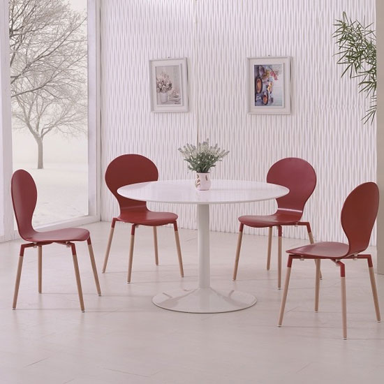 Snowdon Dining Table In White Gloss Top And 4 Napoli Red Chairs