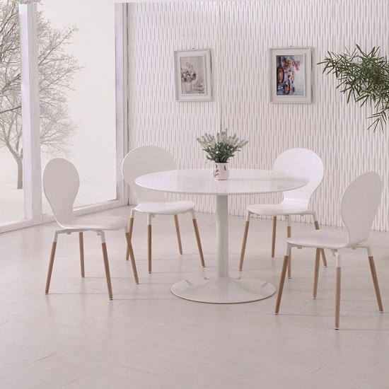 Snowdon Dining Table In White Gloss Top And 4 Napoli White Chair