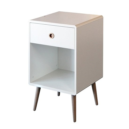 Walton Bedside Cabinet In White With Oak Legs And 1 Drawer