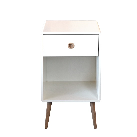 Walton Bedside Cabinet In White With Oak Legs And 1 Drawer_2