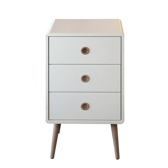 Walton White Bedside Cabinet With Oak Legs And 3 Drawers_2