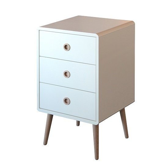 Walton White Bedside Cabinet With Oak Legs And 3 Drawers