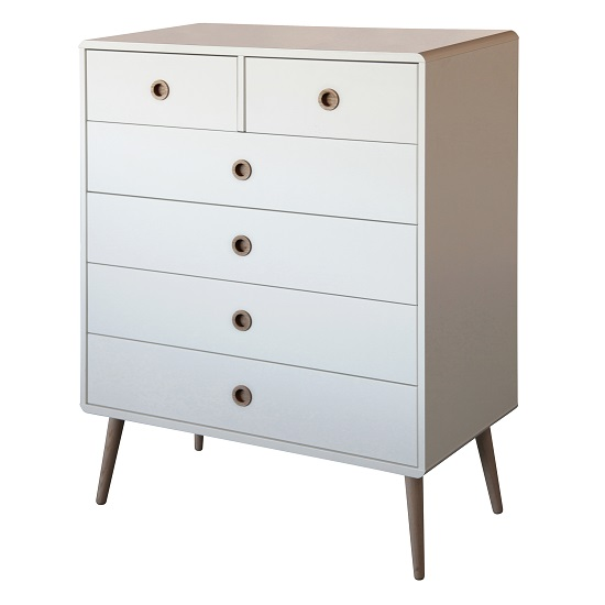 Walton Retro Chest of Drawers In White And Oak With 2+4 Drawers_1