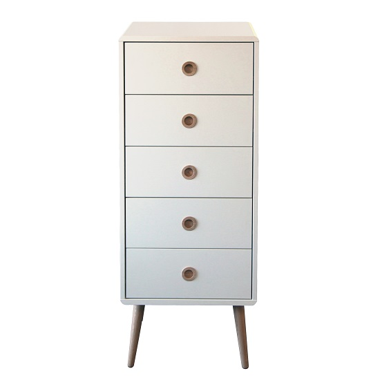 Walton Tall Chest of Drawers In White With Oak Legs And 5 Drawer_2
