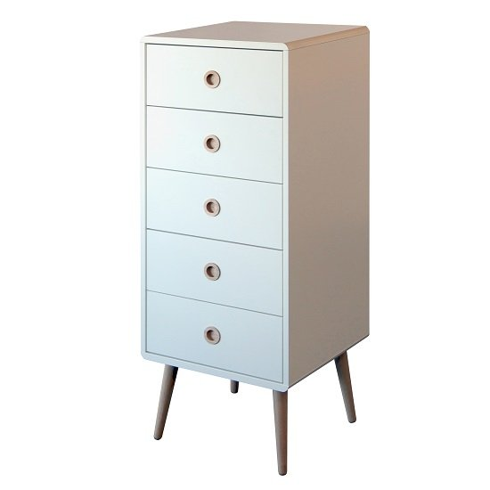 Walton Tall Chest of Drawers In White With Oak Legs And 5