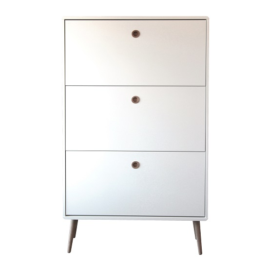 Walton Shoe Storage Cabinet In White And Oak With 3 Flap Doors_2