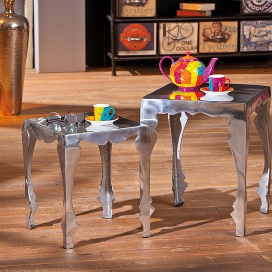 Solta Glossy Silver Finish Set Of 2 Nesting Tables