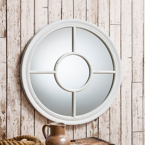 Read more about Somford wall mirror round in white with window design