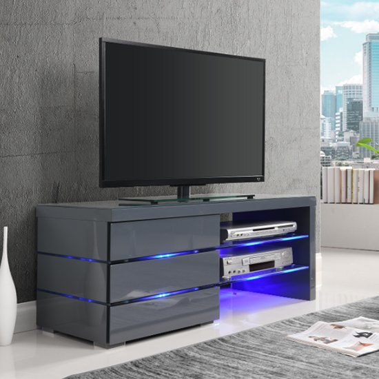 Sonia LCD TV Stand In Grey Gloss And Glass Shelves With LED