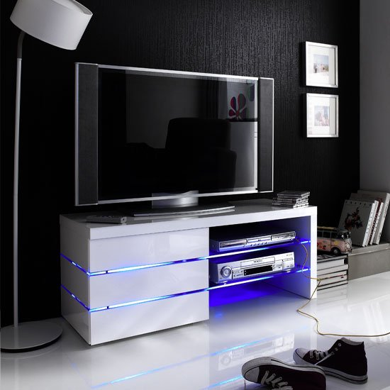 Sonia Tv Stand In White High Gloss With Glass And Led 19631
