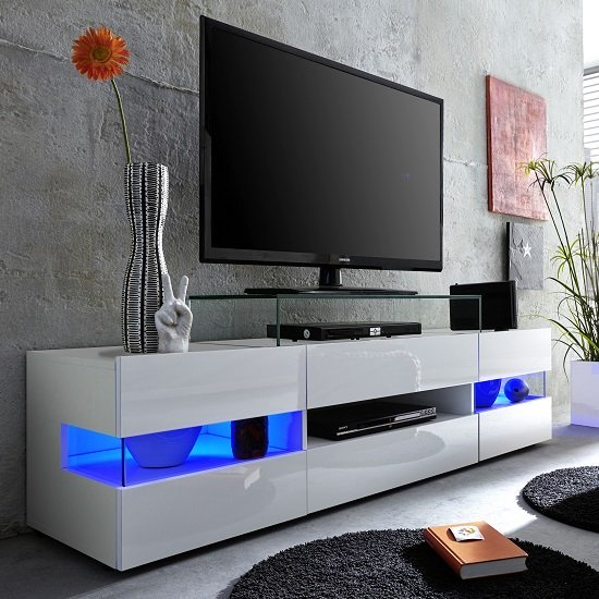 kirsten tv stand in white with gloss fronts and led 27541. Black Bedroom Furniture Sets. Home Design Ideas