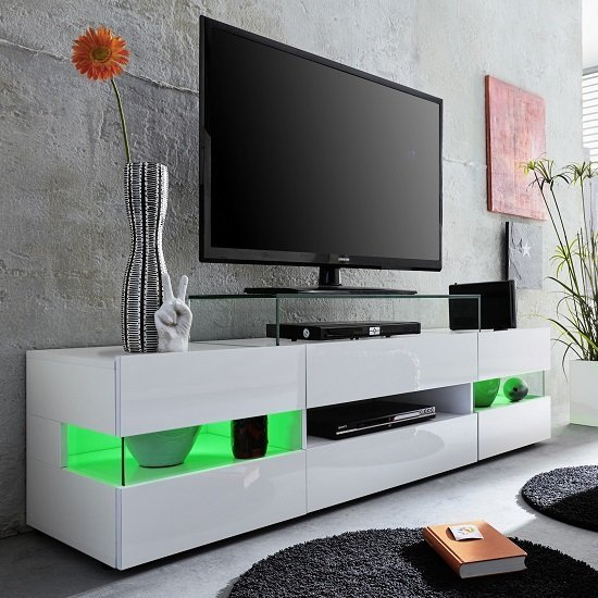 Kirsten Tv Stand In White With Gloss Fronts And Led 27541