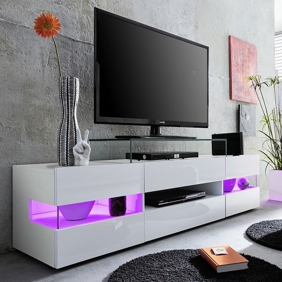 Kirsten TV Stand In White With Gloss Fronts And LED_3