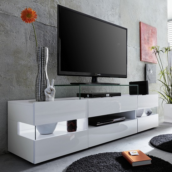 Kirsten TV Stand In White With Gloss Fronts And LED_4