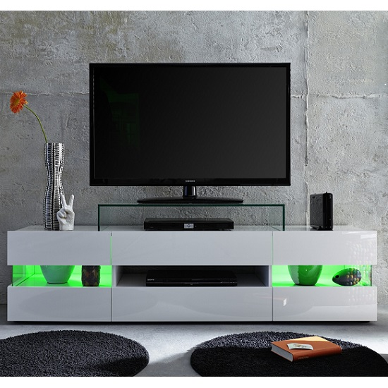 Kirsten TV Stand In White With Gloss Fronts And LED_8