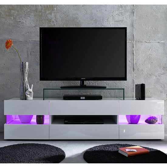 Kirsten TV Stand In White With Gloss Fronts And LED_7