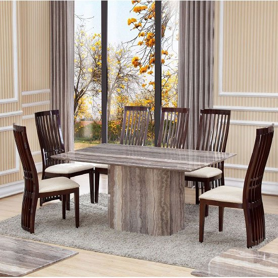 Sophie Rectangular Dining Table In Marble With 6 Athena Chairs