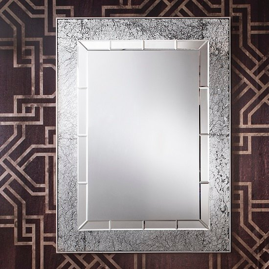 Bradford Mosaic Rectangle Wall Mirror In All Glass Silver Frame