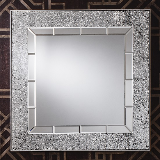 Bradford Mosaic Wall Mirror Square In All Glass And Silver Frame