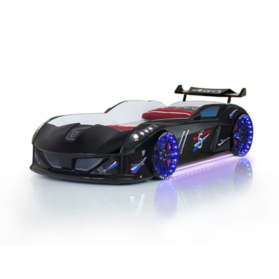 Jaguar Children Car Bed In Black With Spoiler And LED on Wheels