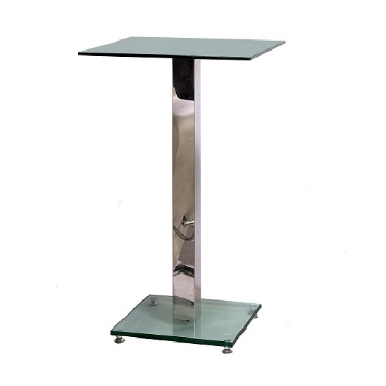 Spice Bar Table Square In Clear Glass With Chrome Pole