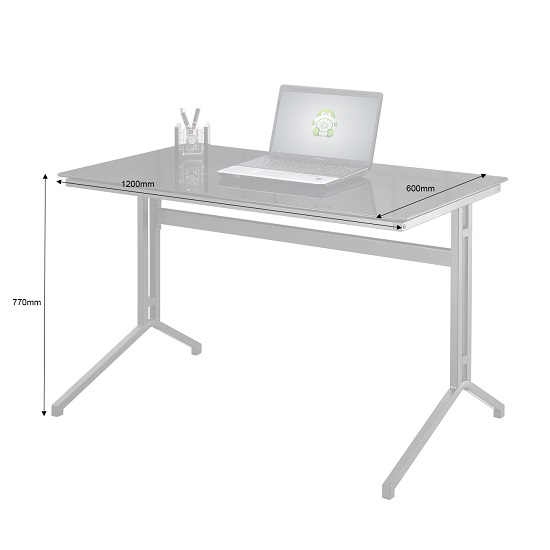 Samara Glass Computer Desk In Black With Dark Grey Metal Frame_2