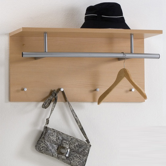 spot beech wall mounted coat rack with shelf 15781. Black Bedroom Furniture Sets. Home Design Ideas