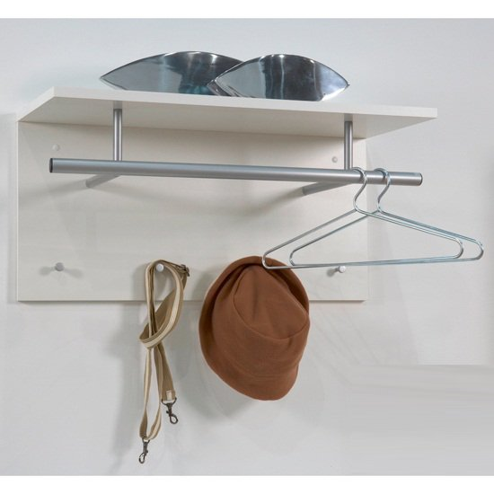 spot wall mounted coat rack in white with shelf 15780. Black Bedroom Furniture Sets. Home Design Ideas