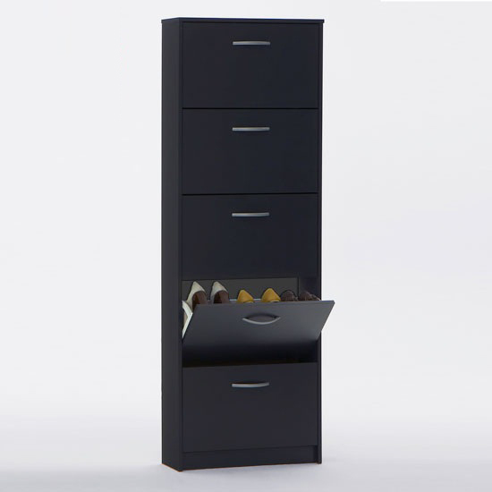 Read more about Atlanta wooden shoe cabinet in anthracite with 5 drawer