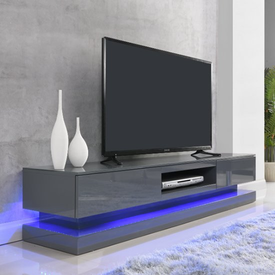 Step High Gloss TV Cabinet In Grey With Multi LED Lights