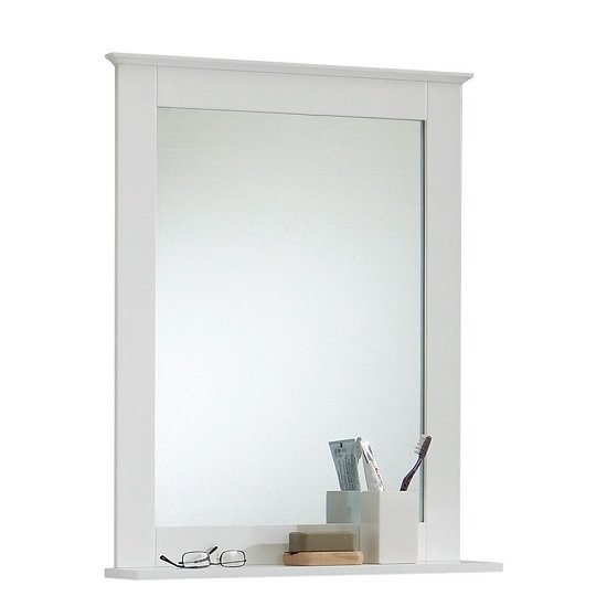sweden bathroom mirror in white with shelf  furniture, Home decor