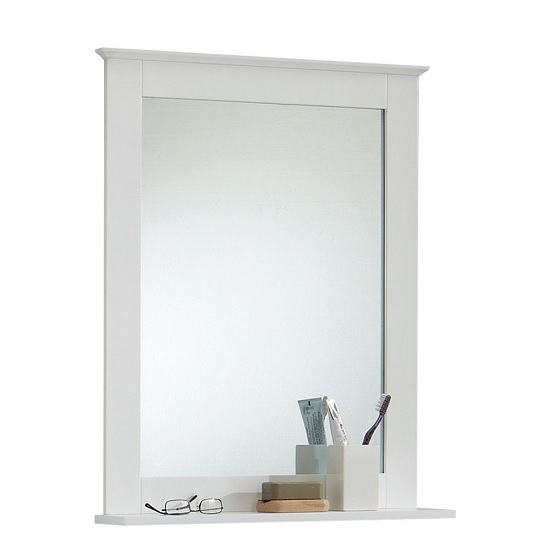 sweden bathroom mirror in white with shelf  furniture,