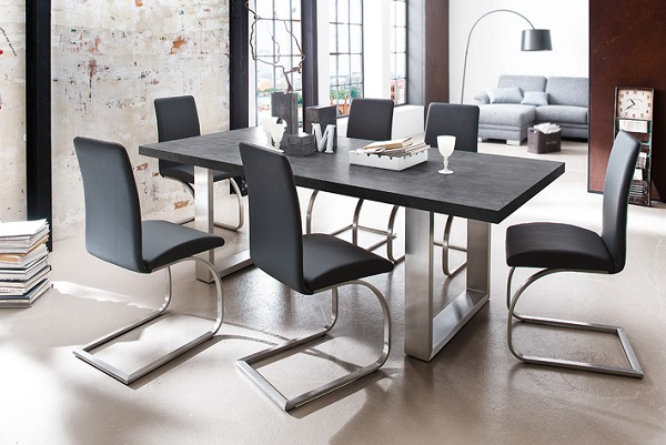 Savona Dining Table Extra Large In Anthracite Stainless Steel_4