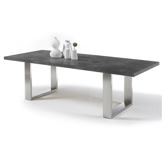 Savona Dining Table Small In Anthracite And Stainless Steel Legs