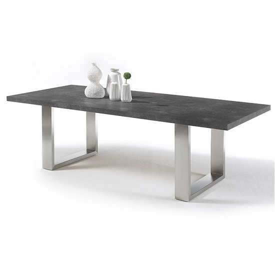 Savona Dining Table Large In Anthracite And Stainless Steel Legs
