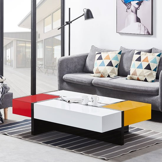 Storm Storage Coffee Table In Yellow And Red High Gloss