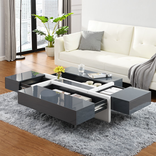 Storm Storage Coffee Table In Grey And White High Gloss_2