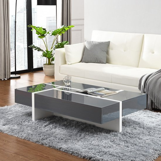 View Storm storage coffee table in grey and white high gloss