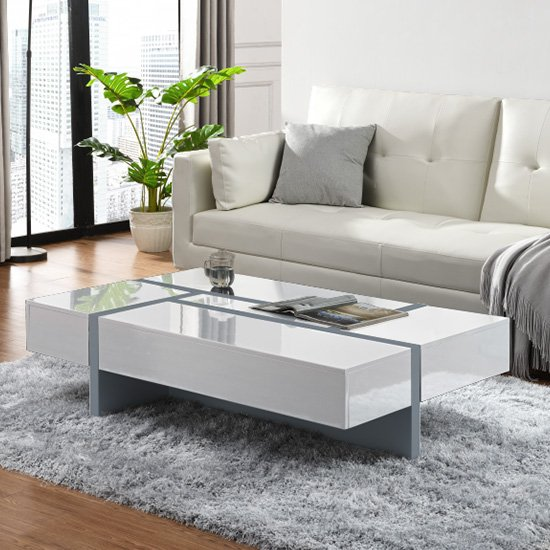 View Storm storage coffee table in white and grey high gloss