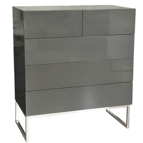 Strada Grey Gloss Chest of Drawers With Glass Top And 5 Drawers_2