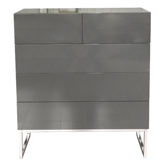 Strada Grey Gloss Chest of Drawers With Glass Top And 5 Drawers_3